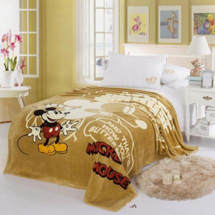 迪士尼家居 法兰绒毯咖啡米奇