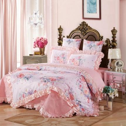 小时代家纺全棉贡缎欧式婚庆件床盖四件套六件套雅韵