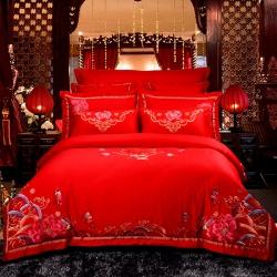 慕她家纺全棉纯棉婚庆四件套大红色刺绣结婚六件套多件套喜缘百子