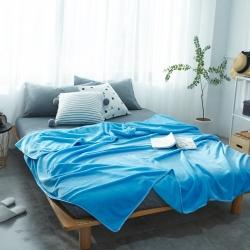 来菲加厚纯色法莱绒毛毯珊瑚绒毯子素色金貂绒六规格天蓝色