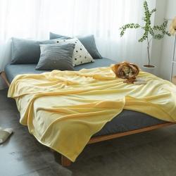 来菲加厚纯色法莱绒毛毯珊瑚绒毯子素色金貂绒鹅黄