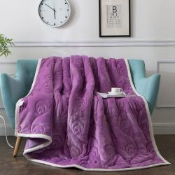 朵绒家纺  孔雀翎被毯  紫色 毯子 毛毯 珊瑚绒毯