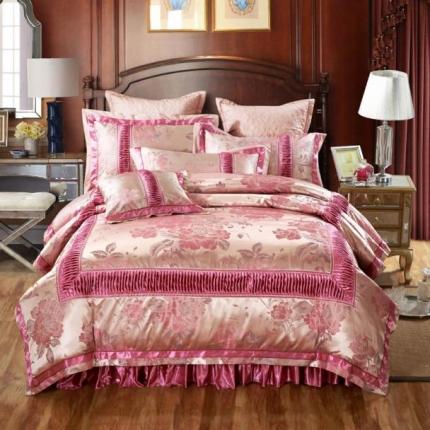 小时代家纺 新款提花夹棉拉链床裙款四件套 华庭颂歌