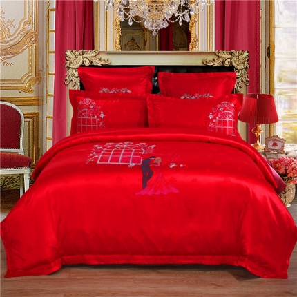 浩情国际 贡缎长绒绵提花四六件套爱情城堡-红
