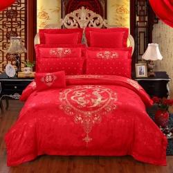 思曼琪 全棉纯棉婚庆四件套大红色刺绣结婚六件套多件套幸福龙凤