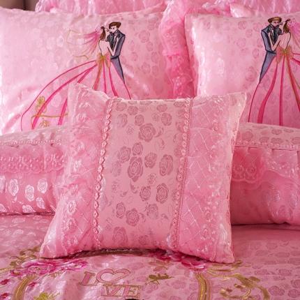 浩情国际 全棉贡缎提花蕾丝婚庆多件套 爱情海-粉玉