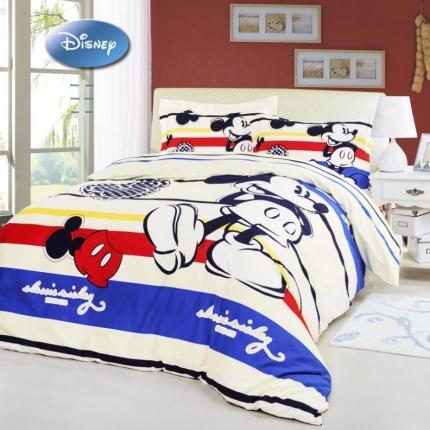 迪士尼家居 全棉加厚磨绒四件套米奇