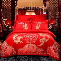 慕她家纺全棉纯棉婚庆四件套大红色刺绣结婚六件套多件套龙凤吉祥