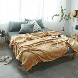 来菲加厚纯色法莱绒毛毯珊瑚绒毯子素色金貂绒六规格卡其