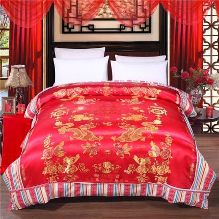 浩情国际 婚庆单品绸缎被套系列龙凤呈祥-绸缎被套-大红