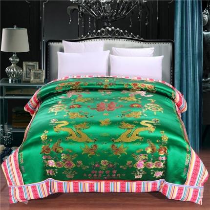 浩情国际 婚庆单品绸缎被套系列龙凤呈祥-绸缎被套-深绿