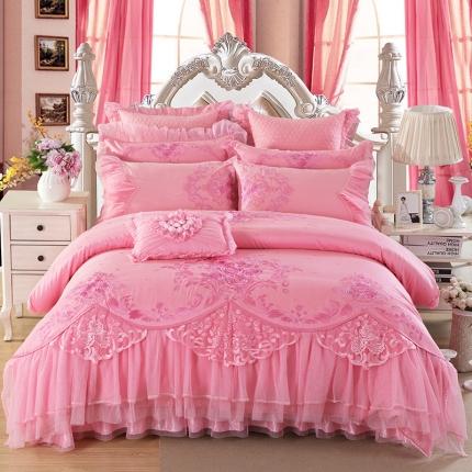 浩情国际 80S蕾丝系列偏偏喜欢你粉色8-9-10件套床盖款