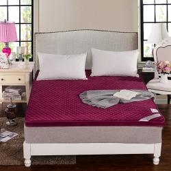 敢谢床垫 珊瑚绒立体床垫 酒红