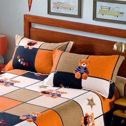 艾羽家纺 全棉高级磨毛澳棉系列单品枕套 绅士熊