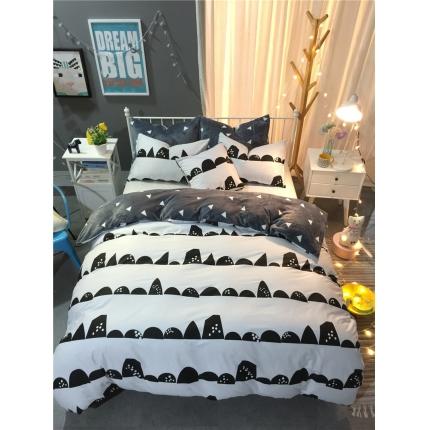 慕梵北欧宜家风全棉法莱绒四件套被套法兰绒1.5m/1.8米