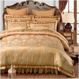 欧式刺绣花夹棉床笠式床罩床裙四件套