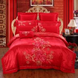 思曼琪 全棉纯棉婚庆四件套大红色刺绣结婚六件套多件套爱的记忆