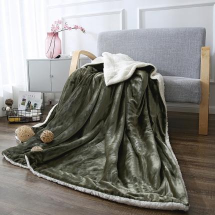 网客家纺 ULTIMATE顶级羊羔绒毛毯棕石绿