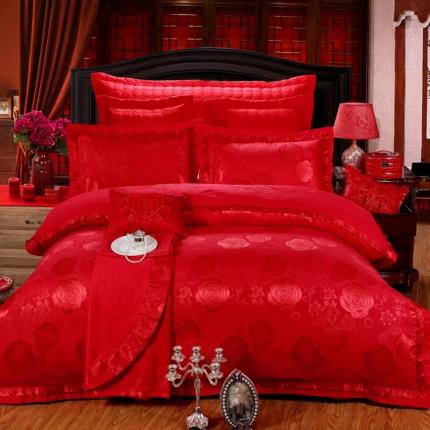 浩情国际 婚庆贡缎蚕丝棉四件套六件套蚕丝棉提花套件 玫瑰之恋