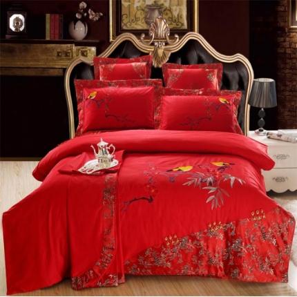 浩情国际 全棉精制绣花锦缎四件套六件套 鸟语花香