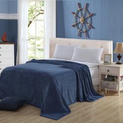 情恒家纺 时尚素色超柔细腻珊瑚绒毯 银灰色