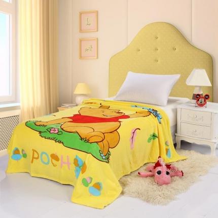 迪士尼家居 法兰绒毯 黄色维尼