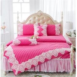 菊上家纺——婚庆全棉蕾丝床裙四件套——花的嫁衣系列-玫红