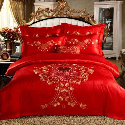 欧派克家纺全棉婚庆大红四件套高档提花绣花纯棉四件套如花岁月