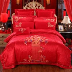 思曼琪 全棉纯棉婚庆四件套大红色刺绣结婚六件套多件套嫁给幸福