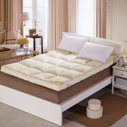 畅畅家纺  柔软舒适立体羽丝绒棉床垫黄色