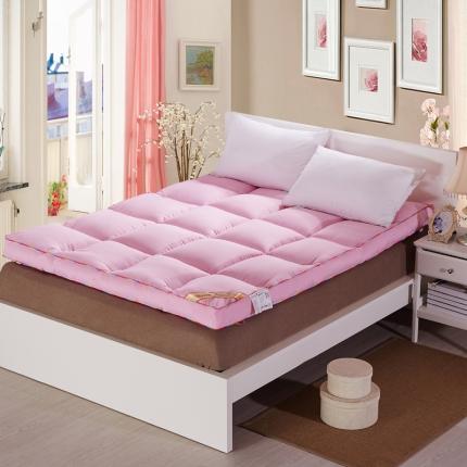 畅畅家纺  柔软舒适立体羽丝绒棉床垫粉红色