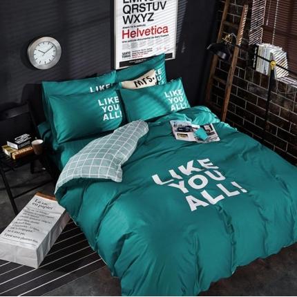 6号家纺 新款13372全棉纯色四件套床单款马里奥墨绿