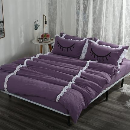 梦博妮家居 水洗棉睫毛四件套 魅惑紫