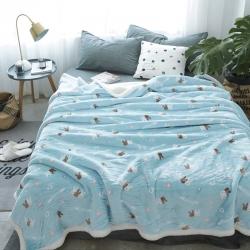 来菲毛毯新款复合印花羊羔绒毯子加厚双层冬季床单盖毯爱丽丝