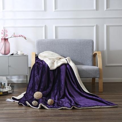 网客家纺 ULTIMATE顶级羊羔绒毛毯温莎紫